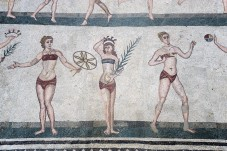 Piazza Armerina Mosaic - the world's first depiction of a bikini, parasol included